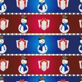 New year pattern with snowman and gift. Christmas texture fill Stock Photography