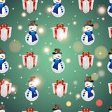 New year pattern with snowman and gift. Christmas texture fill Stock Image