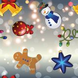 New year pattern with snowman, gingerbread man, bell, garland and Christmas tree toy. Sparkles and bokeh. Shiny and glowing stock illustration