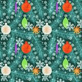 New year. Pattern with toys and snow Stock Photo