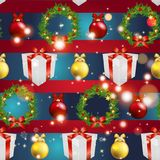 New year pattern with tree toys, gift ribbon and Christmas wreath Stock Photography
