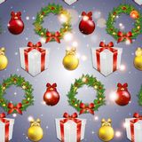 New year pattern with tree toys, gift ribbon and Christmas wreath Royalty Free Stock Images