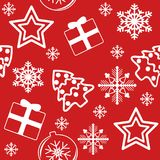 New Year pattern White on Red. royalty free stock photo