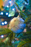 New Year pearl. New Year  toy on the new year tree with pearl Stock Image