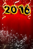 New Year 2016 pearls hanging on red background strip vertical Stock Images