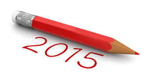 New Year 2015 with pencil (clipping path included). New Year 2015 with pencil. Image with clipping path Stock Photos