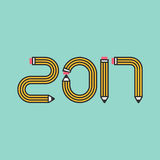 New Year 2017 pencil number. New Year 2017 pencil form flat design vector illustration, design element used for template; background, wallpaper, backdrop Royalty Free Stock Photos