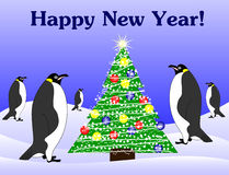 New year penguins and fir tree. Vector penguins around fir tree Royalty Free Stock Image