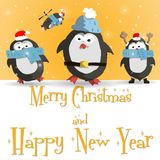 New Year penguins orange greeting card vector. Happy New Year orange greeting card with cute four penguins vector illustration Stock Photo