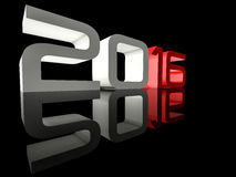 New Year 2016 Perspective Techno Mirrored. Shining 3D text New Year 2016 on black background with reflection Stock Images