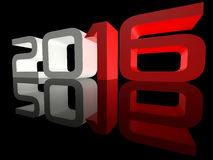 New Year 2016 Perspective Techno Mirrored. Shining 3D text New Year 2016 on black background with reflection Royalty Free Stock Images