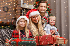 New Year photo of family Stock Image