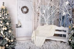 New Year photo studio decorated in white colors royalty free stock photos