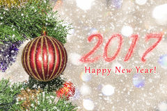 New year 2017, picture card. Christmas-tree decoration. New year 2017, picture card. Christmas-tree decoration Royalty Free Stock Image