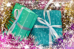 New year picture. Gifts boxes stock image