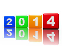 New year 2014 in pied cubes with white figures. New year 2014 in 3d pied cubes with white figures, holiday concept Stock Photography