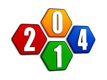 New year 2014 on pied hexagons Stock Image