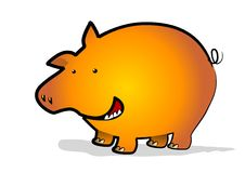 New year pig. A golden new year pig on a white background Stock Photo