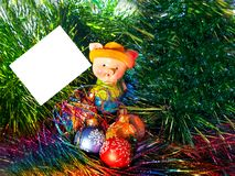 New year, 2019, pig, Christmas balls, tinsel, postcard, letter, congratulations stock image