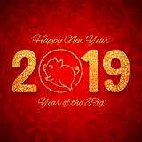 New year of the pig 2019 gold glitter design, chinese horoscope symbol, vector illustration. New year of the pig 2019 gold glitter design on red background royalty free illustration
