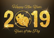 New year of the pig 2019 gold glitter design on red background,. Chinese horoscope symbol, vector illustration vector illustration