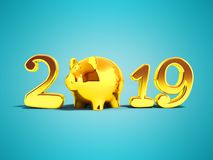 New Year 2019 pig year golden inscription front view 3d render o. N blue background with shadow stock illustration