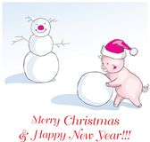 New year of the pig greeting card with cute cartoon piglet in fu. Christmas New year of the pig greeting card with cute cartoon piglet in funny winter cap making vector illustration