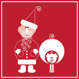 New Year of the Pig. Illustration of Santa Claus with the pig on the red background Royalty Free Stock Photography