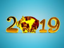 New Year 2019 with pig inside and gifts 3d render on blue backgr. Ound with shadow stock illustration