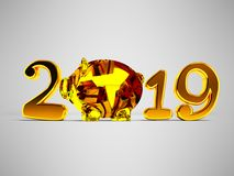 New Year 2019 with pig inside and gifts 3d render on gray backgr. Ound with shadow royalty free illustration