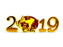 New Year 2019 with pig inside and gifts 3d render on white backg. Round with shadow vector illustration