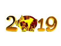 New Year 2019 with pig inside and gifts 3d render on white backg. Round no shadow royalty free illustration