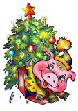 New year pig under tree Royalty Free Stock Photo