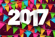 2017 new year pink background. 2017 year pink background with colour flags and confetti. Vector illustration Royalty Free Stock Image