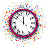 2017 New Year pink clock background. 2017 New Year round clock with color confetti. Vector illustration Stock Photography