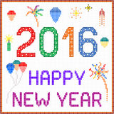 New year 2016 pixel message. 2016 New year message with balloons and fireworks. Square pixels of various colors have been used Stock Photography