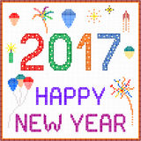 New year 2017 pixel message. 2017 New year message with balloons and fireworks. Square pixels of various colors have been used vector illustration