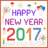 New year 2017 pixel message. 2017 New year message with balloons and fireworks. Square pixels of various colors have been used stock illustration