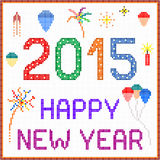 New Year 2015 Pixel Message. An illustration of 2015 New Year message with balloons and fireworks. Square pixels of various colors have been used Stock Photo