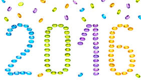 New Year 2015. Placer of colorful precious stones Royalty Free Stock Photography