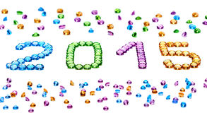 New Year 2015. Placer of colorful precious stones Royalty Free Stock Photo