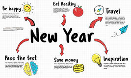 New Year Plan Goals Concept. New Year Plan Goals Diagram Stock Photo