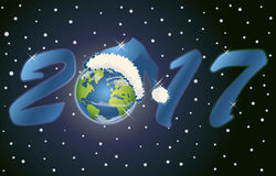 New 2017 Year planet card, vector. Illustration Stock Photography