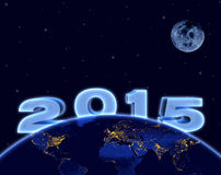 2015 new year, planet earth and moon in night sky Stock Photos