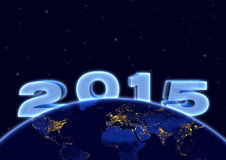 2015 new year and planet earth in night sky Royalty Free Stock Photos