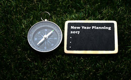 New Year Planning 2017 handwriting on label Stock Photography