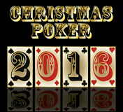 New 2016 year poker cards banner, vector Royalty Free Stock Photos