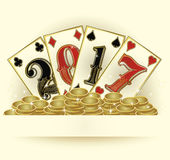 New 2017 year with poker cards and golden coins. Vector illustration Stock Photos