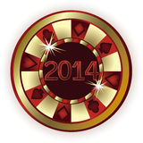 New 2014 Year Poker chip Stock Image