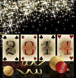 New 2014 Year poker style, casino greeting card Royalty Free Stock Image